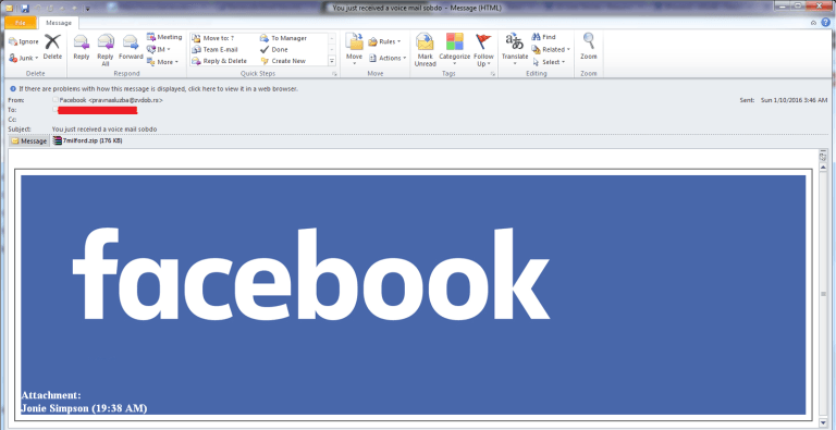 Facebook malware campaign