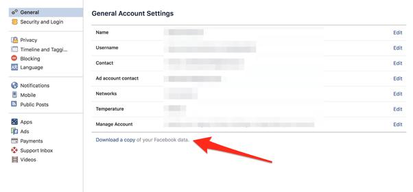 Facebook collection data